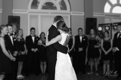 A tender moment during their first dance as husband and wife